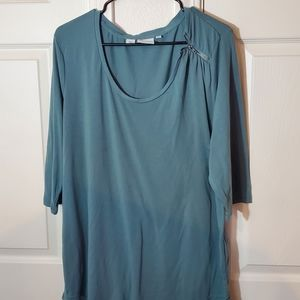 Green 3/4 Sleeve Blouse with Zipper Detail